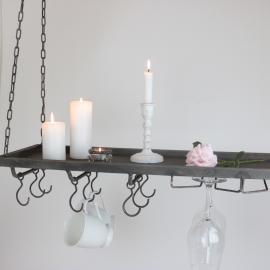 Hengende hylle med kroker 120 cm - antikgrå , hemmetshjarta.no