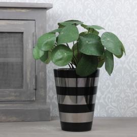 Krukke med striper Luksus 18 cm sort / sølv , hemmetshjarta.no