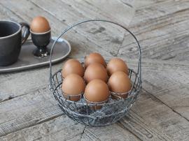 Kurv for 7 egg H22 / Ø18 cm antikk sink , hemmetshjarta.no