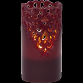 Batteridrevet Blokklys LED Clary Rød 8x15cm , hemmetshjarta.no