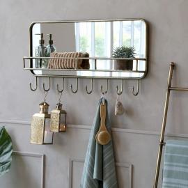 Speil med hylle og 8 kroker H44.5 / L87 / W12 cm antikk messing , hemmetshjarta.no