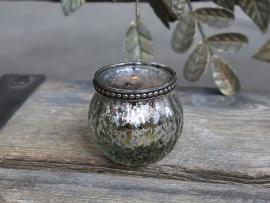 Telysholder med perlekant H5,5 / Ø6,5 cm antikk sølv , hemmetshjarta.no