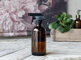 Flaske med spraylokk 480 ml. H21 / Ø7,5 cm mocka , hemmetshjarta.no