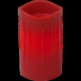 Batteridrevet Blokklys LED Drip Rød 7,5x12,5cm , hemmetshjarta.no