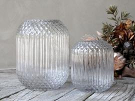 Vase med rutemønster H18 / Ø14 cm klar , hemmetshjarta.no