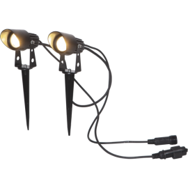 Utendørsdekorasjon System 24V Spotlight Varmhvit 8x4,5 150cm 2-pakning , hemmetshjarta.no