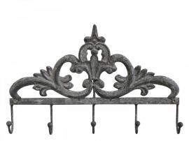 Kleshenger med dekorasjon og 5 kroker Jern H21 / L32,5 / B4 cm antikk sink , hemmetshjarta.no