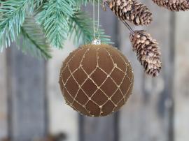 Julekule velur med gullmønster Ø8 cm karamell 4-pack , hemmetshjarta.no