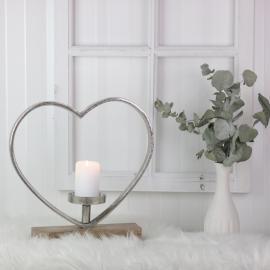 Stående Hjerte med Lysholder 35 cm , hemmetshjarta.no