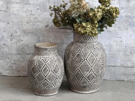 Évron vase med mønster for deco H31 / Ø21,5 cm mørk natur , hemmetshjarta.no