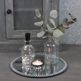 Lysfat Speil med perlekant 25 cm , hemmetshjarta.no