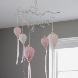 Papirballong med tøyremser 60 cm - lyserosa , hemmetshjarta.no