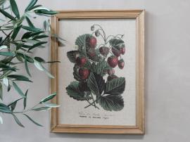 Bilde med jordbærmotiv og treramme H43 / L33 cm , hemmetshjarta.no