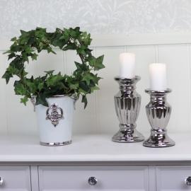 Blomsterpotte Luksus 17 cm - hvit / sølv , hemmetshjarta.no
