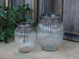 Vase med sølvpynt H14 / Ø11 cm klar , hemmetshjarta.no