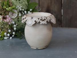Vase med blondekant H13 / Ø14 cm krem , hemmetshjarta.no