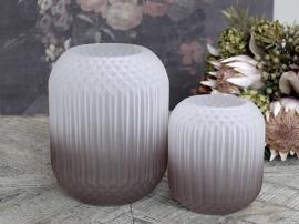 Uke 45 Vase med rutemønster matt H18 / Ø14 cm taupe , hemmetshjarta.no