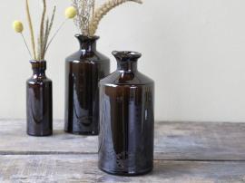 Gl. Fransk flaske H19 / Ø9 cm antikk mocca , hemmetshjarta.no
