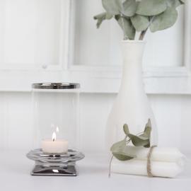 LysLykt med glass Lyx sølv 13 cm , hemmetshjarta.no