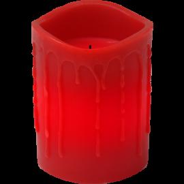 Batteridrevet Blokklys LED Drip Rød 7,8x10cm , hemmetshjarta.no