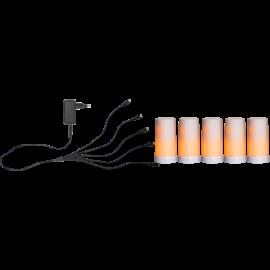 Batteridrevet Blokklys LED Diner Hvit Start 5st 13cm , hemmetshjarta.no