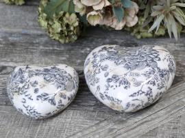 Melun Hjerte med fransk mønster Keramikk H4,5 / L8,5 / B8,5 cm mørkeblå 1 st , hemmetshjarta.no