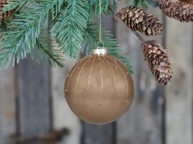 Julekule med glasur Glass Ø8 cm lys mokka 4-pack , hemmetshjarta.no
