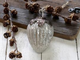 Julekule med dekorasjon H11 / Ø7 cm antikk hvit 4-pack , hemmetshjarta.no