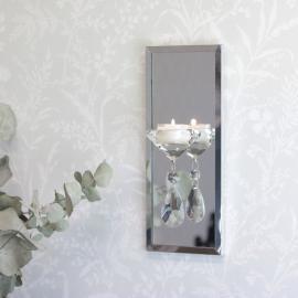 Lysholder Vegg med speil 25,5 cm , hemmetshjarta.no