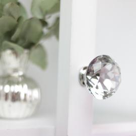 Knopp Diamant med flat topp 6x4 cm - glass , hemmetshjarta.no