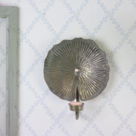 Lysestake / Vegg telys 28 cm - antikk messing , hemmetshjarta.no
