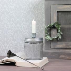 Lysestake med oppbevaring 15 cm - grå , hemmetshjarta.no