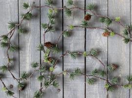 Uke 42 Fleur sedertre girlang med kongler L160 cm grønn , hemmetshjarta.no