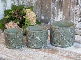Krukke med fransk mønster H13/Ø15,5 cm fransk grønn 1 st , hemmetshjarta.no