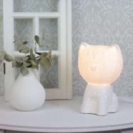 Lampe porselen Katt 21 cm - hvit , hemmetshjarta.no