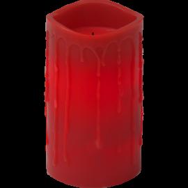 Batteridrevet Blokklys LED Drip Rød 7,5x15cm , hemmetshjarta.no