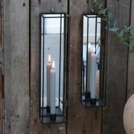 Lysestake for vegg med speil H41 / L10 / W10 cm antikk karbon , hemmetshjarta.no