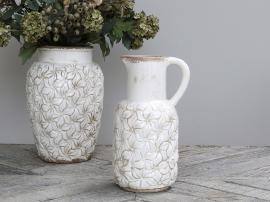 Colmar kanne med blomster Keramikk H30 / L16,5 / B14,5 cm antikk krem , hemmetshjarta.no