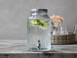 Dispenser i glass med kran 5,5 liter H30 / Ø18 cm cm klar , hemmetshjarta.no