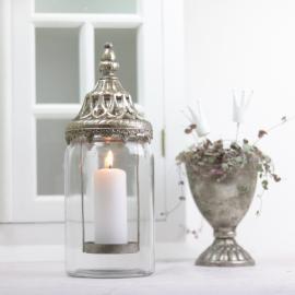 Lykt/vase med lokk 28 cm - Antikksølv , hemmetshjarta.no