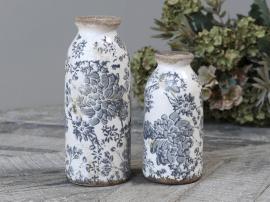 Melun Flaske med fransk mønster H16 / Ø8 cm opal 1stk , hemmetshjarta.no