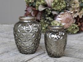 Vase med perlekant H10,5 / Ø8 cm champagne , hemmetshjarta.no