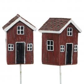 Hytte/Stick Rød Poly 7,5x5cm 2-pak , hemmetshjarta.no