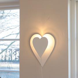 Vegglampe Hjerte - vit , hemmetshjarta.no