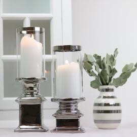 LysLykt med glass Lyx sølv 22 cm 1 st , hemmetshjarta.no