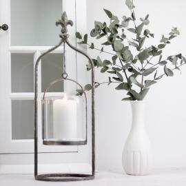 Lykt/Vase på stativ 40 cm - Antikksølv , hemmetshjarta.no
