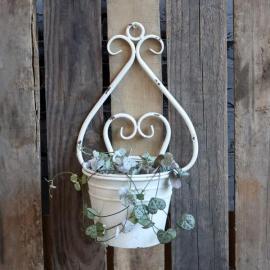 Veggkrukke med dekor H34 / L20 / W17 cm antikk krem , hemmetshjarta.no