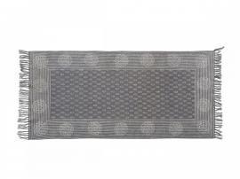 Teppe med striper og blomst L150 / W75 cm antikk semsket skinn , hemmetshjarta.no