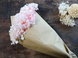 Fleur Ekte Tørket Hortensiablomst 1 stk L60 cm rosa i brunt papir , hemmetshjarta.no