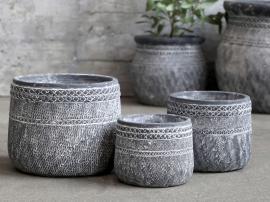 Cholet Krukke med mønster Cement H10,5 / Ø13 cm antikk svart 1 st , hemmetshjarta.no
